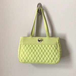 VERA BRADLEY Lime Green Quilted Purse Bag